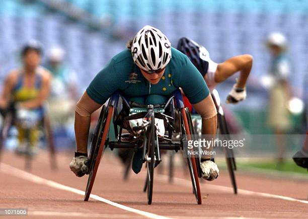 Louise Sauvage of Australia wins her Semifinal of the Womens 800m T54 during the Sydney 2000 Paralympic Games at Olympic Stadium, Homebush Bay,...