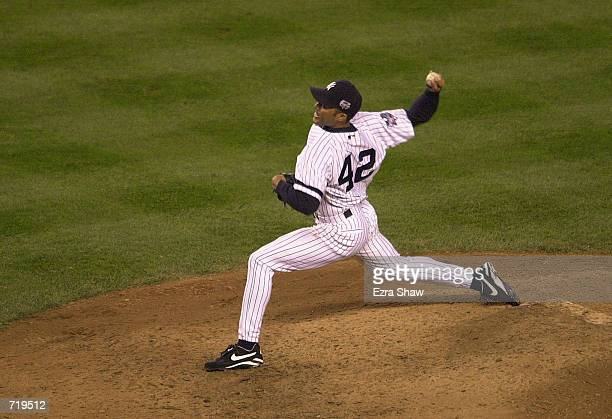 Mariano Rivera of the New York Yankees throws against the New York Mets during game one of the MLB World Series at Yankee Stadium in the Bronx, New...