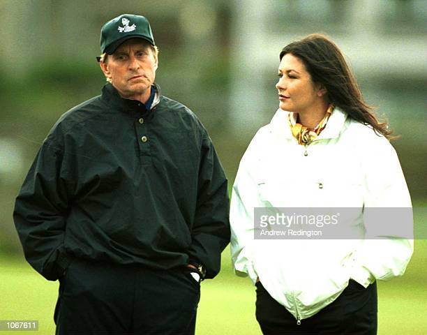 Michael Douglas and Cathrine Zeta Jones during the ProAm of the Alfred Dunhill Cup played on the Old Course at St Andrews Scotland Mandatory Credit...