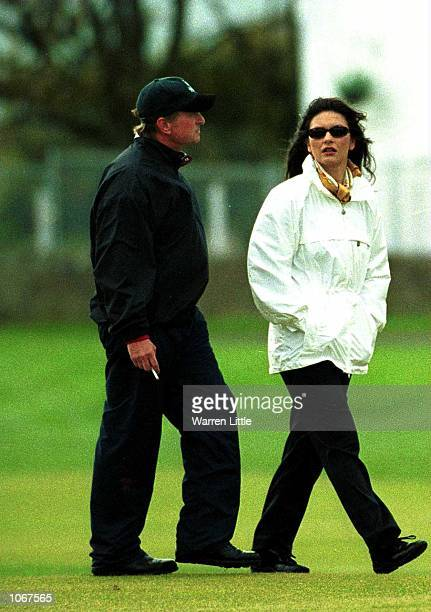 Michael Douglas walks down the 1st hole with Cathrine Zeta Jones during the ProAm of the Alfred Dunhill Cup played on the Old Course at St Andrews...