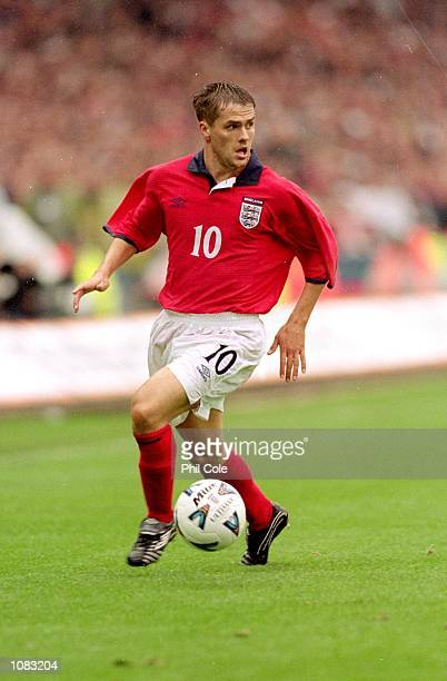 Michael Owen of England in action during the World Cup 2002 Group 9 Qualifying match against Germany played at Wembley Stadium in London Germany won...