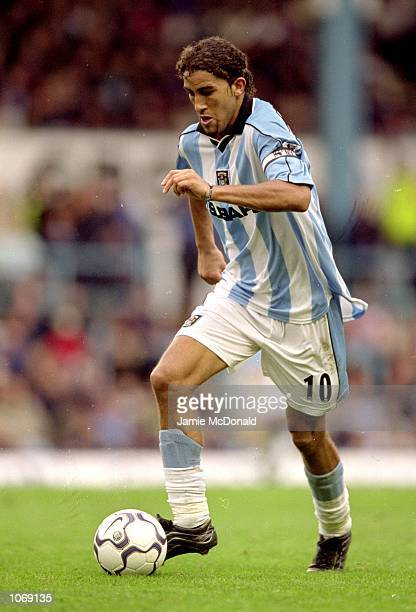 Mustapha Hadji of Coventry City in action during the FA Carling Premiership match against Tottenham Hotspur at Highfield Road in Coventry England...