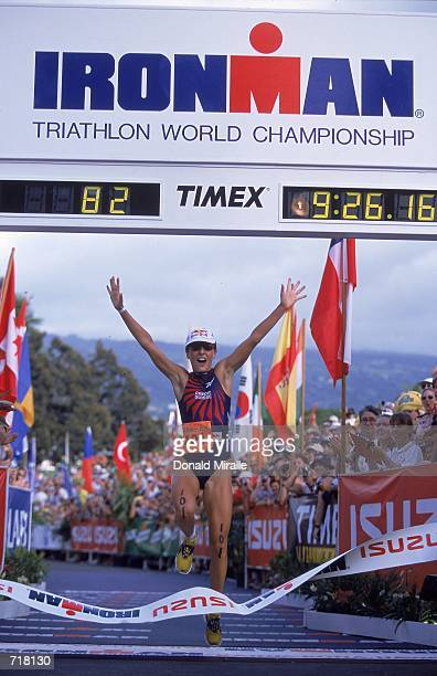 Natascha Badmann of Sweden comes in first as she crosses the finish line during the Women's Ironman Triathlon in KailuaKona HawaiiMandatory Credit...