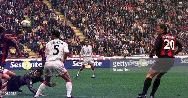 Oliver Bierhoff of AC Milan scores during the Serie A league match between AC Milan and Vicenza played at the San Siro Stadium in Milan Italy...