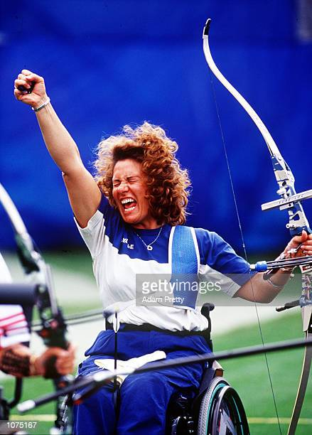 Paola Fantato of Italy celebrates during the Woman's Individual Archery at the Sydney 2000 Paralympic Games held at the Sydney International Archery...