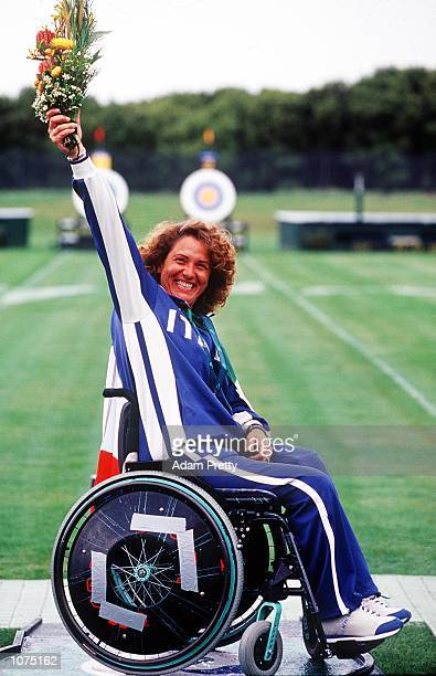 Paola Fantato of Italy wins Gold in the Women's Individual Sitting Archery during the 2000 Paralympic Games at Archery Park in Sydney, Australia....