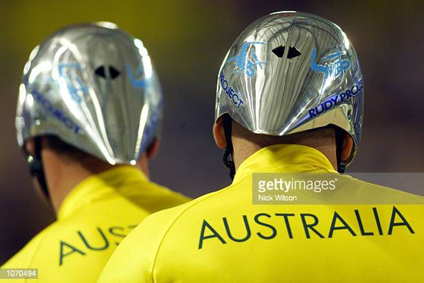 Paul Clohessy and Eddie Hollands of Australia prepare for the Mens Tandem Individual Pursuit Open cycling during the Sydney 2000 Paralympics at the...