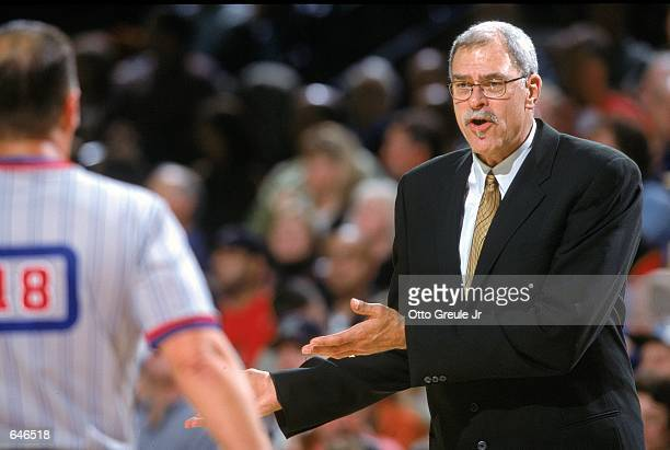 Phil Jackson of the Los Angeles Lakers questions the referee during the game against the Portland Trail Blazers at the Rose Garden in Portland,...