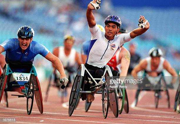 Prawat Wahoram of Thailand in action during the Men's 5000m Final at the Sydney 2000 Paralympic Games held at the Olympic Stadium in Sydney Australia...