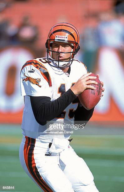 Quarterback Scott Mitchell of the Cincinnati Bengals looks to pass the ball during a game against the Cleveland Browns at Browns Stadium in Cleveland...
