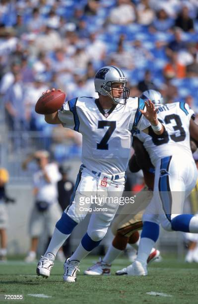 Quarterback Steve Beuerlein of the Carolina Panthers moves as he looks to pass the ball during the game against the San Francisco 49ers at Ericsson...