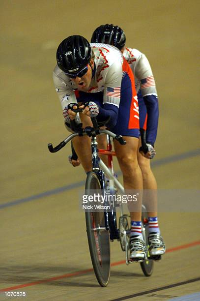 Randy Hampton and William Ramsay of USA in action during the Mens Tandem Individual Pursuit Open cycling during the Sydney 2000 Paralympics at the...