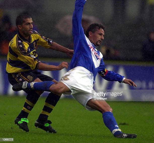 Roberto Baggio of Brescia in action during the Serie A league match between Brescia and Parma played at the Mario Rigamonti Stadium Brescia Italy...