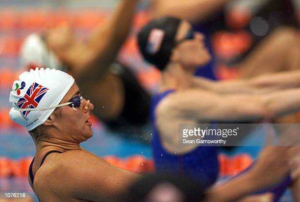 Sarah Bailey of Great Britain in action in the Womens S10 100m Backstroke Final during the Sydney 2000 Paralympic Games at the Sydney International...