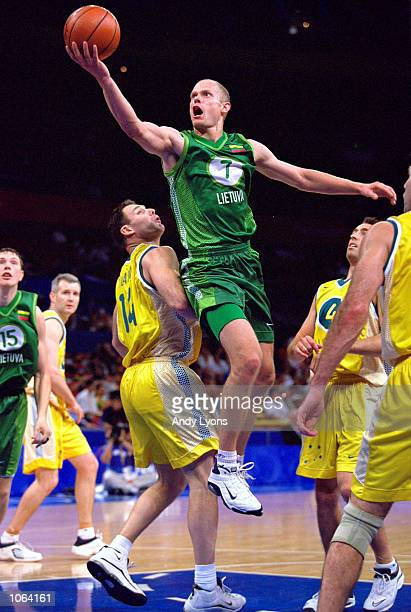 Saulius Stombergas of Lithuania in action during the Mens Basketball Bronze Medal match at the Sydney SuperDome on day 16 of the Sydney 2000 Olympic...