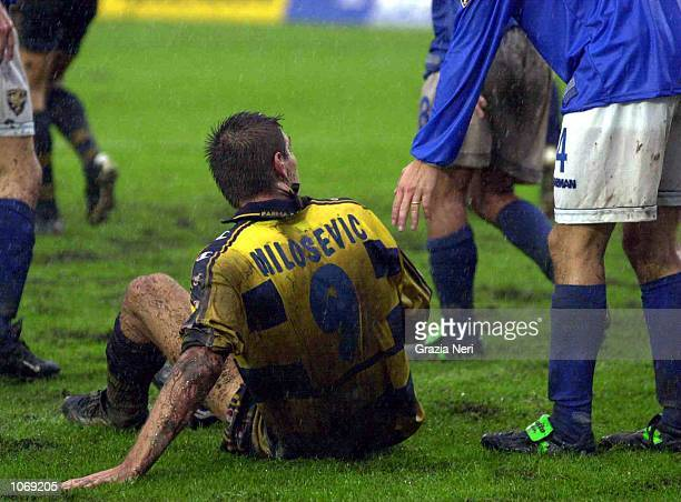 Savo Milosevic of Parma in action during the Serie A league match between Brescia and Parma played at the Mario Rigamonti Stadium Brescia Italy...
