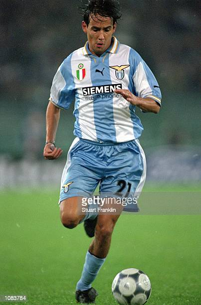 Simone Inzaghi of Lazio in action during the UEFA Champions League match against Shakhtar Donetsk played at the Stadio Olimpico in Rome Italy Lazio...