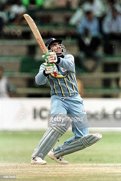 Sourav Ganguly of India hits a 6 on his way to 141 not out during the India v South Africa SemiFinal of the ICC Knockout Tournament at the Gymkhana...