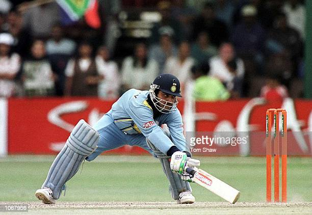 Sourav Ganguly of India plays a more unorthadox shot on his way to 141 not out during the India v South Africa SemiFinal of the ICC Knockout...