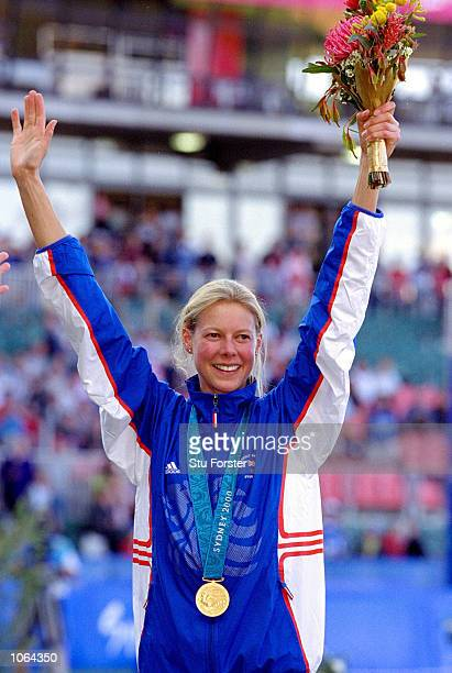 Stephanie Cook of Great Britain celebrates winning Gold in the Womens Modern Pentathlon on the Day 16 of the Sydney 2000 Olympic Games in Sydney...