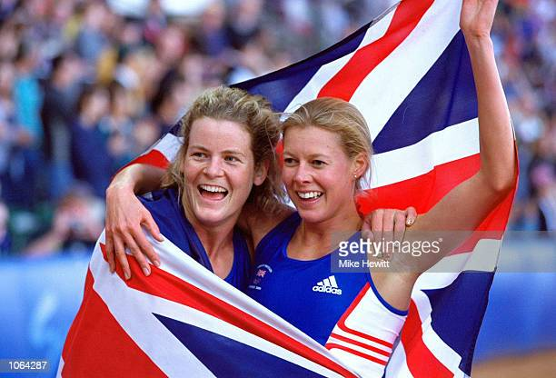 Stephanie Cook of Great Britain celebrates winning Gold with team mate and Bronze Medallist Kate Allenby in the Womens Modern Pentathlon on the Day...