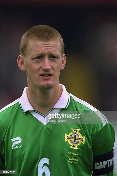 Steve Lomas of Northern Ireland pictured before the World Cup 2002 qualifier against Denmark at Windsor Park in Belfast Northern Ireland The match...