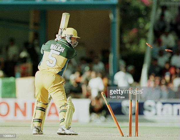Steve Waugh the Australian Captain is bowled out during the Australia v India second round match of the ICC Knockout tournament at the Gymkhana Club...