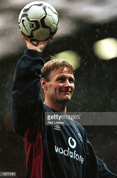 Teddy Sheringham of Manchester United walks off with the match ball after scoring a Hattrick against Southampton during the FA Carling Premiership...