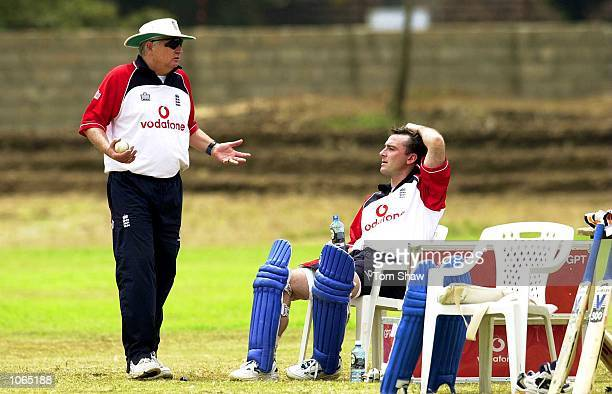 The England Coach Duncan Fletcher has a chat with Graham Thorpe of England during nets practice prior to the start of the ICC Knockout tournament at...