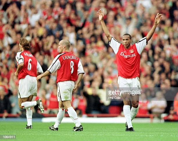 Thierry Henry of Arsenal celebrates after scoring during the FA Carling Premiership game between Arsenal and Manchester United at Highbury in London...
