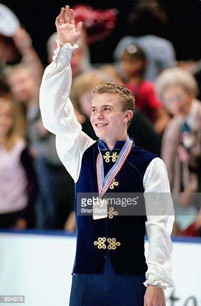 Timothy Goebel of the USA waves to the crowd after winning First Place during the Skate America Competiton at the World Arena in Colorado Springs...
