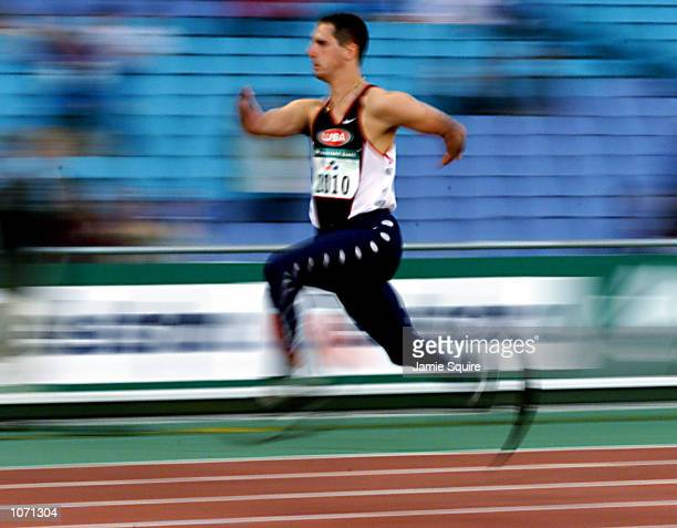 Tony Volpentest of the USA in action during the Semi Final of the Mens 100m T44 event during the Sydney 2000 Paralympic Games at Olympic Stadium...