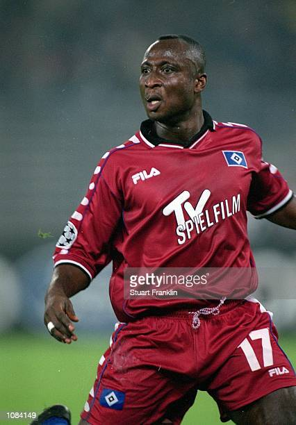 Tony Yeboah of Hamburg in action during the UEFA Champions League match against Juventus played at the Stadio Delle Alpi in Turin Italy Hamburg won...