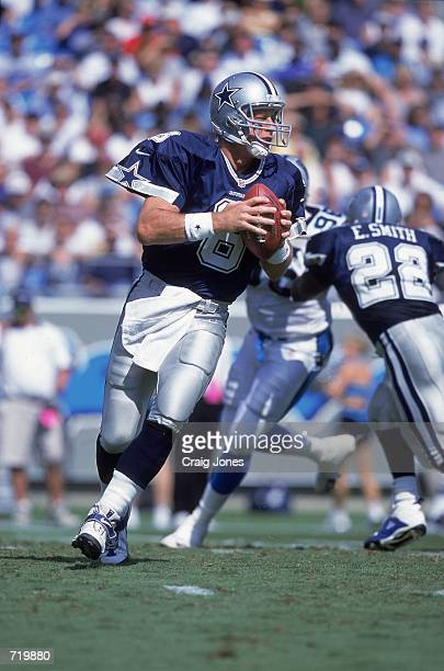 Troy Aikman of the Dallas Cowboys lines up a pass during the game against the Carolina Panthers at the Ericsson Stadium in Charlotte North Carolina...