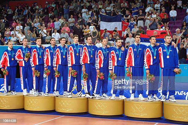 Yugoslavia celebrate winning Gold in the Mens Volleyball Final at the Entertainment Centre on day 16 of the Sydney 2000 Olympic Games in Sydney...