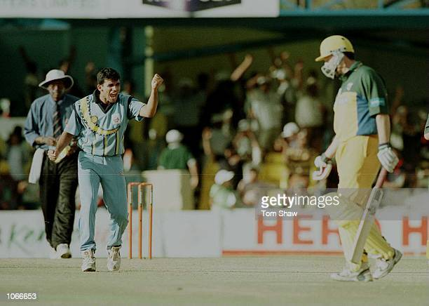Z Khan of India celebrates taking the wicket of Steve Waugh the Australian Captain during the Australia v India second round match of the ICC...