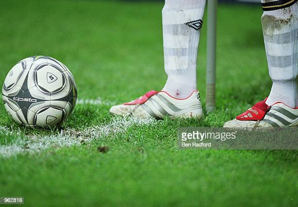 A closeup of David Beckham of Manchester United boots during the UEFA Champions League Group G match against Lille played at the FelixBollaert...
