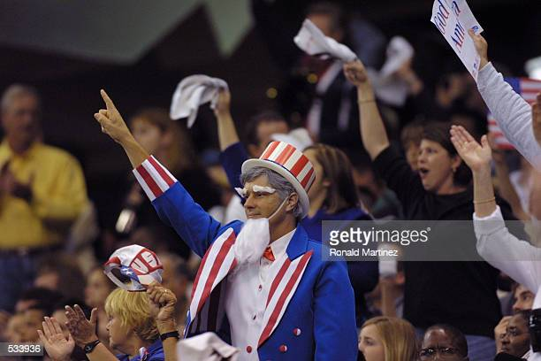 A fan dressed as Uncle Sam cheers on the Minnesota Vikings during the game against the New Orleans Saints at the Superdome in New Orleans Louisiana...