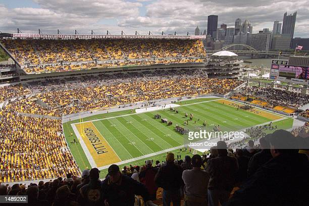 A general view of the football field and fans in the stadium taken during the game between the Cincinnati Bengals and the Pittsburgh Steelers at...
