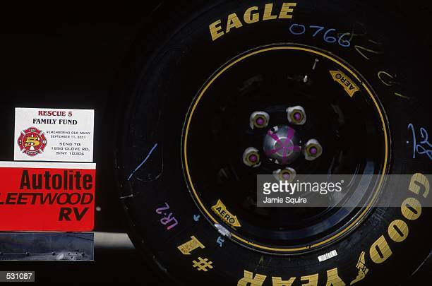 A general view of the tire detail on Ricky Rudd's car during the EA Sports 500 part of the NASCAR Winston Cup Series at the Talladega Superspeedway...