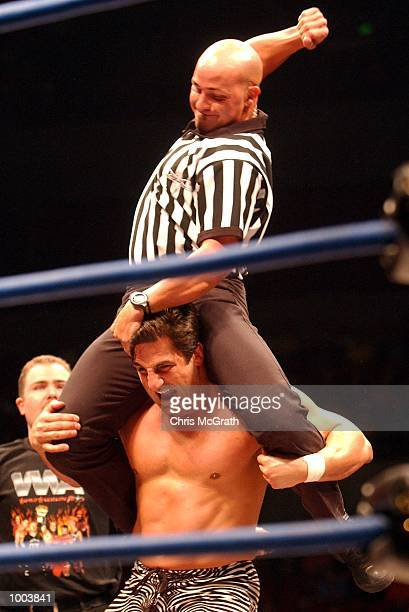 A referee gets involved during the WWA Wrestling 'Inception' fight night held at the Sydney Superdome Sydney Australia DIGITAL IMAGE Mandatory Credit...