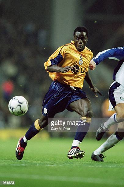 Ade Akinbiyi of Leicester City looks to cause havoc during the FA Barclaycard Premiership match against Balckburn Rovers played at Ewood Park in...