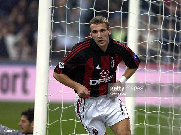 Andriy Shevchenko of AC Milan celebrates scoring during the Serie A match between Inter Milan and AC Milan played at the Guiseppe Meazza Stadium San...