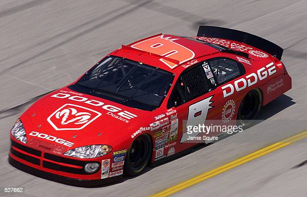 Bill Elliott driver of the Evernham Motorsports Dodge Intrepid R/T in action during practice for the EA Sports 500 at Talladega Superspeedway in...