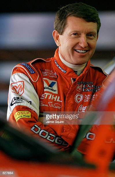 Bill Elliott driver of the Evernham Motorsports Dodge Intrepid R/T prepares to take the track during practice for the EA Sports 500 at Talladega...