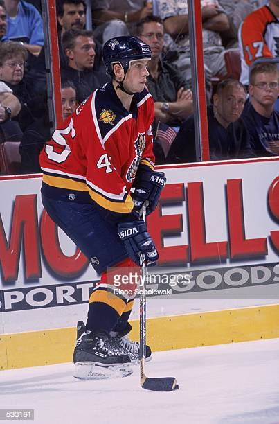 Brad Ference of the Florida Panthers looks to pass the puck during the game against the Philadelphia Flyers at First Union Center in Philadelphia...