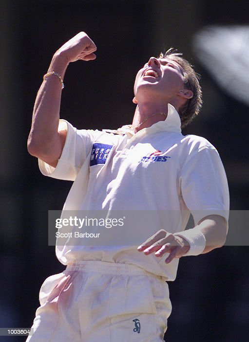 Brett Lee of New South Wales celebrates after taking his fifth wicket against South Australia during Day 3 of the Pura Cup match at the Sydney Cricket Ground in Sydney, Australia. DIGITAL IMAGE. Mandatory Credit: Scott Barbour/ALLSPORT