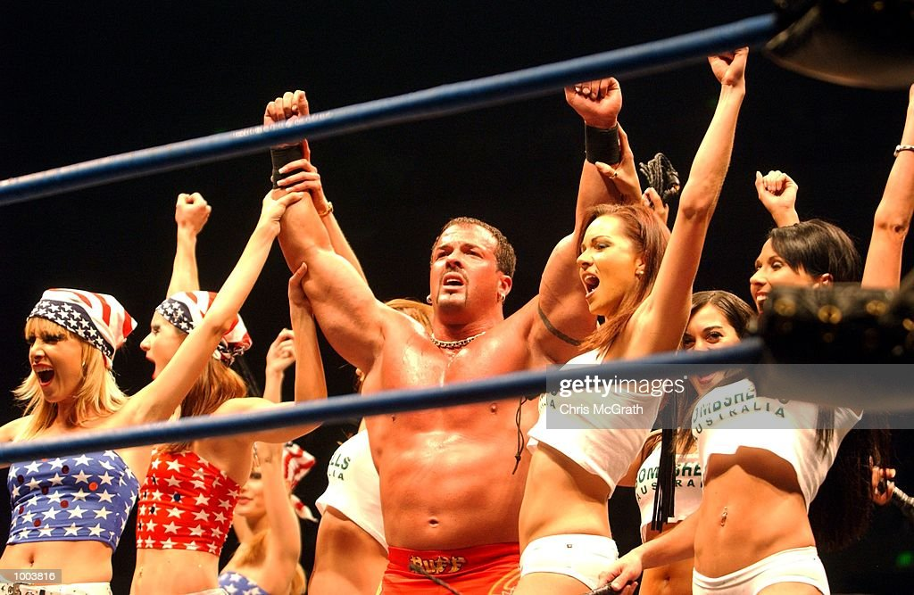 Buff Bagwell and his girls after winning fight during the WWA Wrestling 'Inception' fight night held at the Sydney Superdome, Sydney, Australia. DIGITAL IMAGE Mandatory Credit: Chris McGrath/ALLSPORT