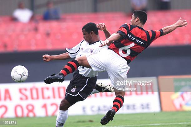 Cacio of Flamengo tries to block the Corinthian player from crossing the ball during the match against Corinthians in Morumbi Stadium Sao Paulo...