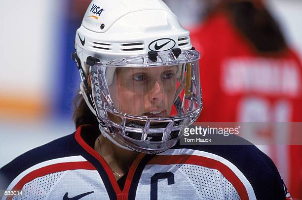 Cammi Granato of the USA looks on during the game against Canada at the Compaq Center in San Jose California The USA defeated Canada 41Mandatory...